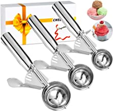 Cookie Scoop, Ice Cream Scoop, Cookie Scooper with Trigger Large Medium Small Ice Cream Scoopers, 18/8 Polished Stainless Steel Melon Ballers Cookie Scooper - Gift Package (New Set of 3)
