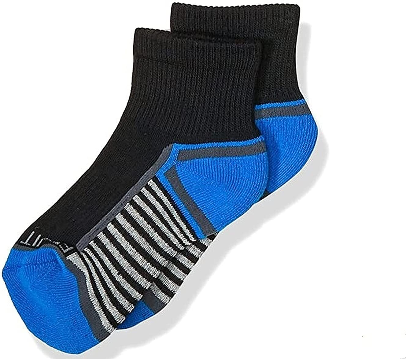 Fruit Of The Loom Boys Everyday Cushioned Ankle Socks - 13-Pack, Black Assorted, 3-9