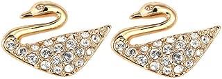 Swan Mini Pierced Earrings, Rose Gold-Plated