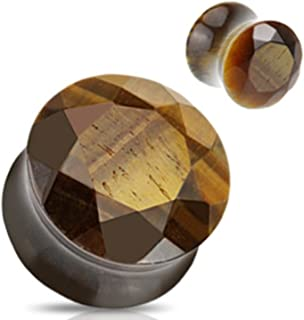 Pair of Tiger's Eye Stone Flesh Tunnel Ear Plug Expander Stretcher
