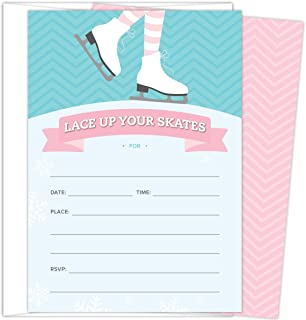 Ice Skating Invitations for Birthday Parties and Other Occasions. Set of 25 Fill In Style Invitations with Envelopes. Pink, Turquoise and Light Blue design with Skates, Snowflakes and Chevron Stripes.