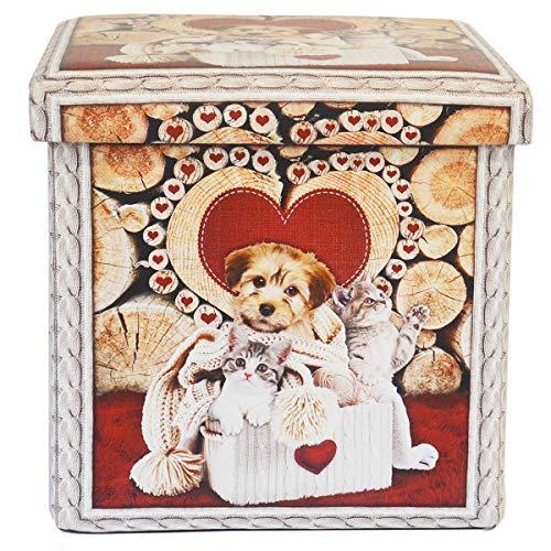 R.P. Puff - Contenedor reposapiés - Impresión digital de alta calidad - Cucharas Amici - Taburete con tapa - Medidas 38 x 38 x 38 cm - cachorro de perro