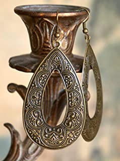 Antiqued Brass Boho Earrings, Long & Light Bohemian Style Earrings