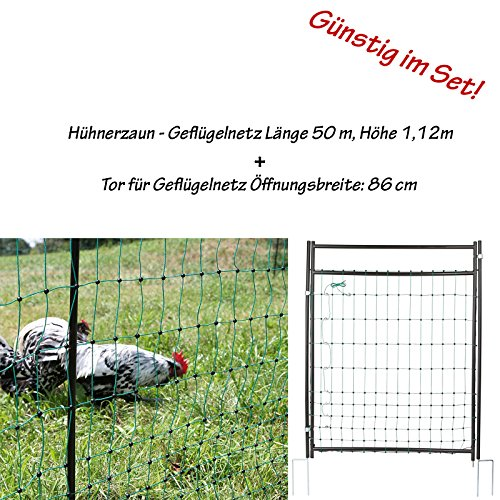 Karner Handels GmbH Geflügelnetz 50m grün mit Doppelspitze inklusive Tor extra hohe Ausführung