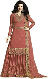GE Export Women's Semi Stitched Embroidered Kurta Sharara Set Heavy Work Rangoli Silk Kurta Sharara Dupatta Set_Orange GNX...