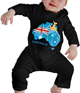SARA NELL Baby Boys & Girls Bodysuit Stralia Flag Map Australia National Pride Jumpsuit Onesies Long Sleeve