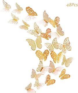 Creatiee 48Pcs Butterfly Decorations, 3D Wall Decals|Metallic Art Sticker, DIY/Handmade/Removable/Pressure Resistance Paper Murals Gift for Home Kids Bedroom Nursey Party Décor (Champagne)