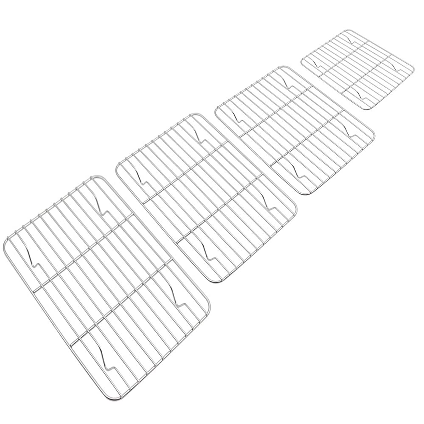 WEZVIX Stainless Steel Cooling Rack Baking Rack Wire Grill Racks for Baking Sheet Set of 4 for Cooking Baking Cooling Dishwasher Safe & Rust free
