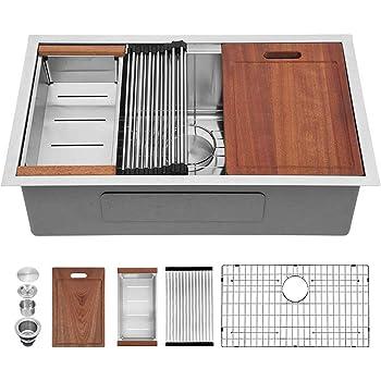 "33 Undermount Kitchen Sink - Sarlai 33"" x 19"" Undermount Sink Ledge Workstation Deep Single Bowl 16 Gauge R10 Tight Radius Stainless Steel Kitchen Sink Basin"