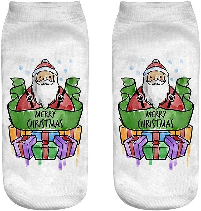 Big Promotion 2021 New Christmas Socks Comfortable Christmas Cotton Sock Slippers Short Print Ankle Socks One Size B