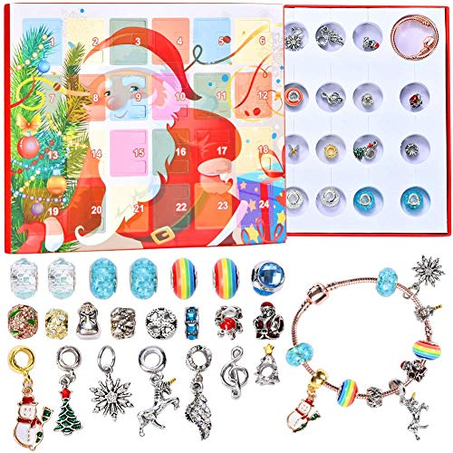 RTXUK Christmas Advent Calendar 2020,Jewellery Advent Calendars - Nice Gifts for Girls, DIY Fashion Jewelry Set with 22 Charms Beads 2 Chain bracelet Set Present, For 8-12 Year Old Girl