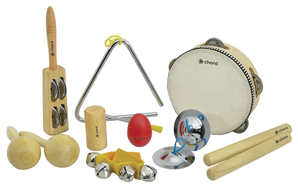 Chord Hand Percussion Instruments Classroom Starter Kit/Set in Zipped Bag - Pack of 9 CPS09
