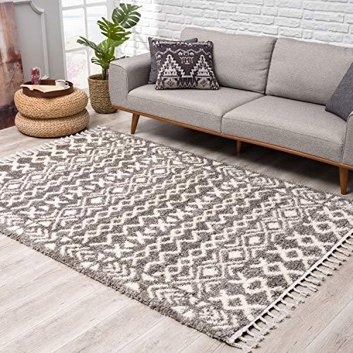 Teppich Hochflor Wohnzimmer - Ethno Boho Stil 140x200 cm Grau Creme - Teppiche mit Fransen