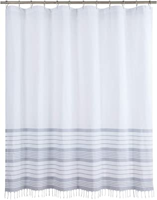 """DS CURTAIN Gloria Yarn Dyed Woven Grey Stripes Tassel Handmade Fringe Trim Knotted Braided Border Waterproof Polyester Fabric Shower Curtain for Bathroom,72"""" W x 72"""" H"""