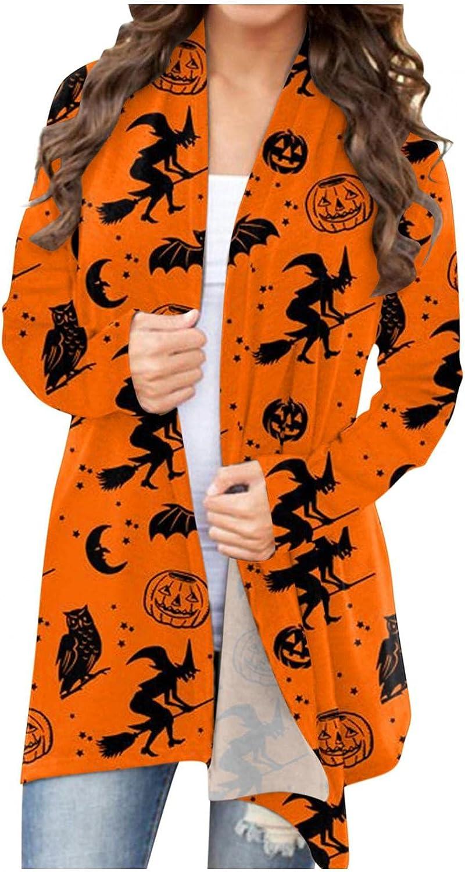 Halloween Shirts for Women Open Front Funny Cardigan Sweaters Pumpkin Black Cat Ghost Outwear Coat