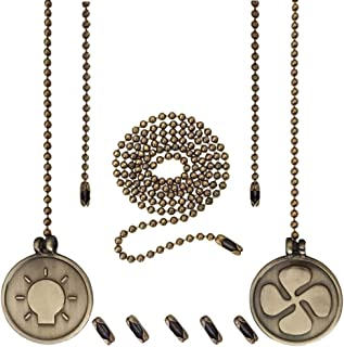 Ceiling Fan Pull Chain Set, 2 Pieces 12 Inches Light Bulb & Fan Shaped Pull Chains, 2 Feet Bead Pull Chain and 6 Pieces Extra Connectors- Antique