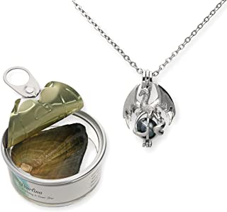 Dragon Cultured Pearl in Oyster Necklace Set Silver tone Cage w/Stainless Steel Chain 18
