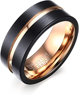 Rockyu アクセサリー タングステン リング メンズ シルバー シンプル 指輪 8MM 平打つ つや消す ヘアライン加工 マッド質感 超硬い (Black, 9)