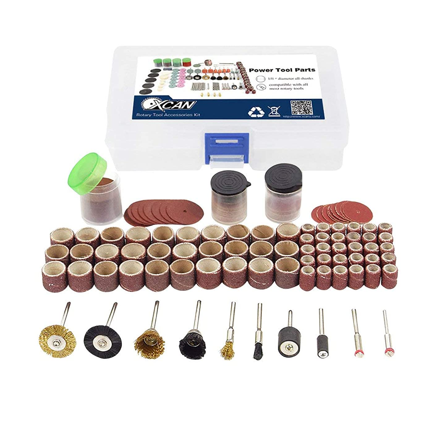 リング司教エスカレーター150ピースロータリーパワーツール切削ディスクマンドレルサンディングドラムドリルグラインダー研磨キット多機能木工修復ツール(多色) (Rustle666)