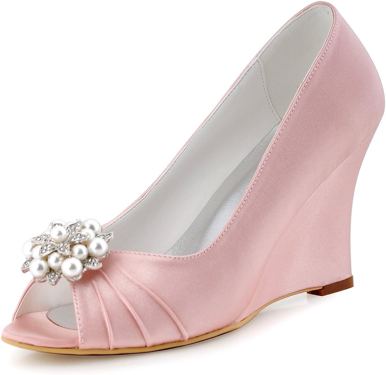 Elegantpark EP2009 Women Evening Party Wedges Peep Toe High Heel Pleated Satin Wedding shoes