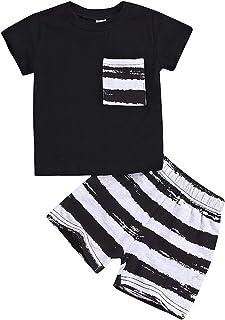 V/êtements de Sport d/ét/é 2PCs T-Shirt /à Capuche Ray/é sans Manches avec Short pour 0-4Ans BOBORA Ensemble B/éb/é Gar/çon