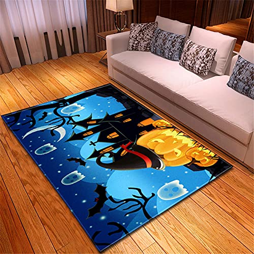 Alfombras Salon Modernas 150X200cm Calabaza Azul Negro Amarillo Alfombra Impresa En 3D...