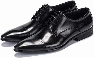 Enjoy4Beauty - Zapatos de cuero puntiagudos para hombre de negocios británicos (color: negro, talla: 46)