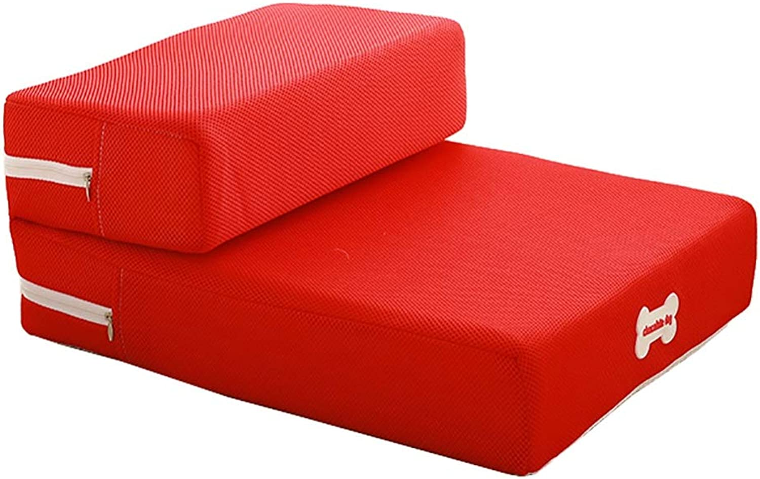 Pet stairs Breathable Mesh Foldable Sponge Mat Climbing Ladder Dog Training Ladder Soft Step Cat Mat (color   RED)