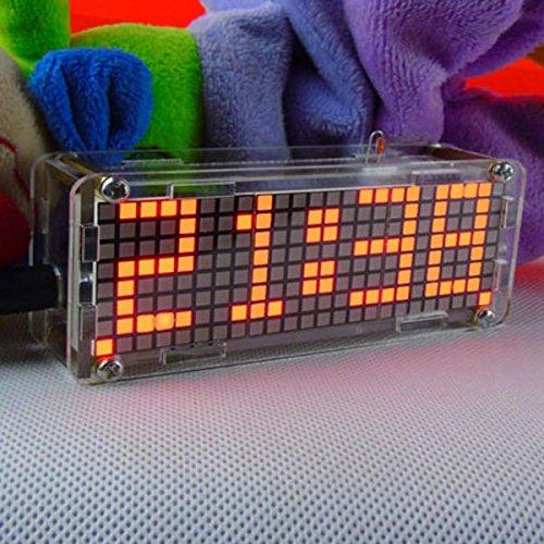 BouBou 5V DIY Dot Matrix Digit Led Electronic Clock Kit Temperatura 24 Horas Pantalla - Rojo