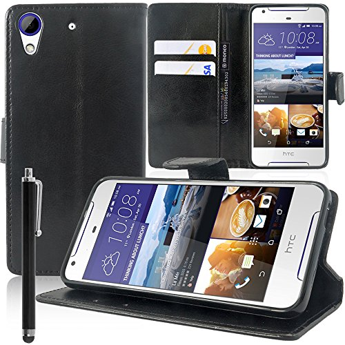VComp-Shop® PU-Leder Handy Brieftasche mit Kartenfächer und Video-Standfunktion für HTC Desire 628/628 dual SIM + Großer Eingabestift - SCHWARZ