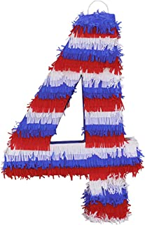 Aurabeam Number Four American Flag Design Pinata for 4th of July Celebrations - Handmade in Mexico
