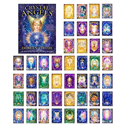 Tarot Cards Durable Fashionable Tarot Cards 44PCS Crystal Angel Oracle Cards with Beautiful Painting...