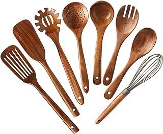 Wooden Kitchen Utensils set,NAYAHOSE Wooden Spoons for cooking Natural Teak Wood Kitchen Spatula Set for Cooking including...