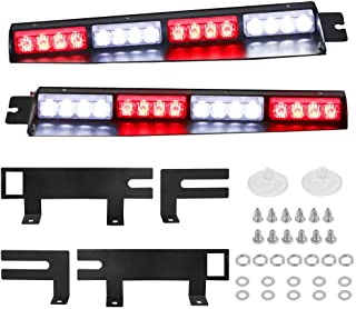 Red White Visor Lights, JUEN LIGHTS 32LED 15 Flash Patterns Emergency Visor Strobe Lights Windshield Interior Split Mount Visor Light Bar with Extended Bracket (Red/White)