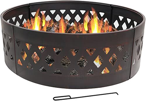discount Sunnydaze discount Crossweave Fire Pit 2021 Campfire Ring - Large Outdoor Heavy Duty Metal Round Wood Burning Firepit with Fire Poker - 36 Inch outlet online sale