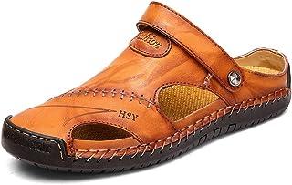 صنادل رجالية عصرية من الجلد غير رسمية مغلقة من الأمام في الهواء الطلق صياد المشي لمسافات طويلة أحذية الصيف خفيفة الوزن
