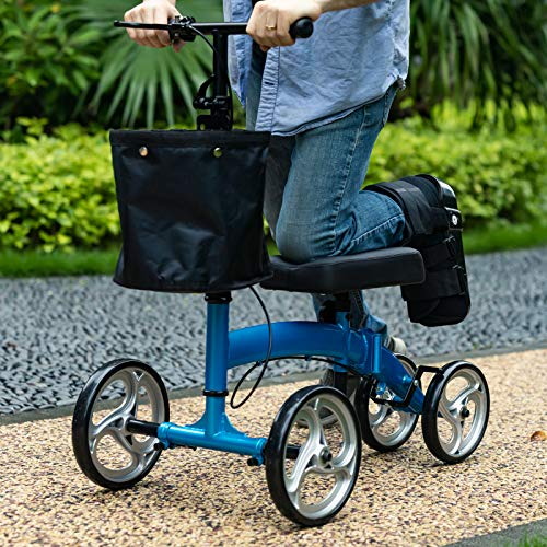 ELENKER Lightweight Foldable Knee Scooter Crutches Alternative for Foot Injuries Ankles Surgery Blue