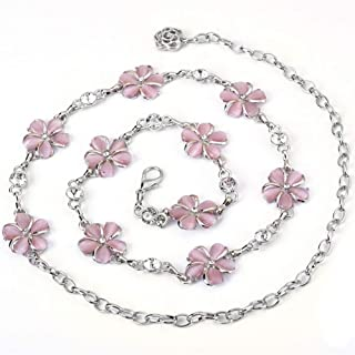 LUKEEXIN Fashion Metal Waist Chain Decorative Dress Belt Accessories Jewelry for Women and Girls (Color : Pink)