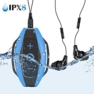 Swimming Mp3 Player 8gb with IPX8 Waterproof Headphones Armband,AGPTEK S05E Music Player,Blue