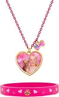 "JoJo Siwa and Bow Bow Pink Bracelet and Heart Necklace Fashion Set, 16 + 2"" Extender"