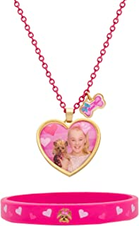 JoJo Siwa and Bow Bow Pink Bracelet and Heart Necklace Fashion Set, 16 + 2