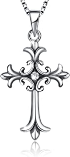 925 Sterling Silver Vintage Celtic Cross Pendant Necklace Retro Jewelry Gifts for Women Girls Men