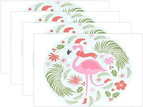 WOOR Christmas Flamingo Placemats for Dining Table Heat Resistant Kitchen Table Decor Washable Table Mats Set of 6