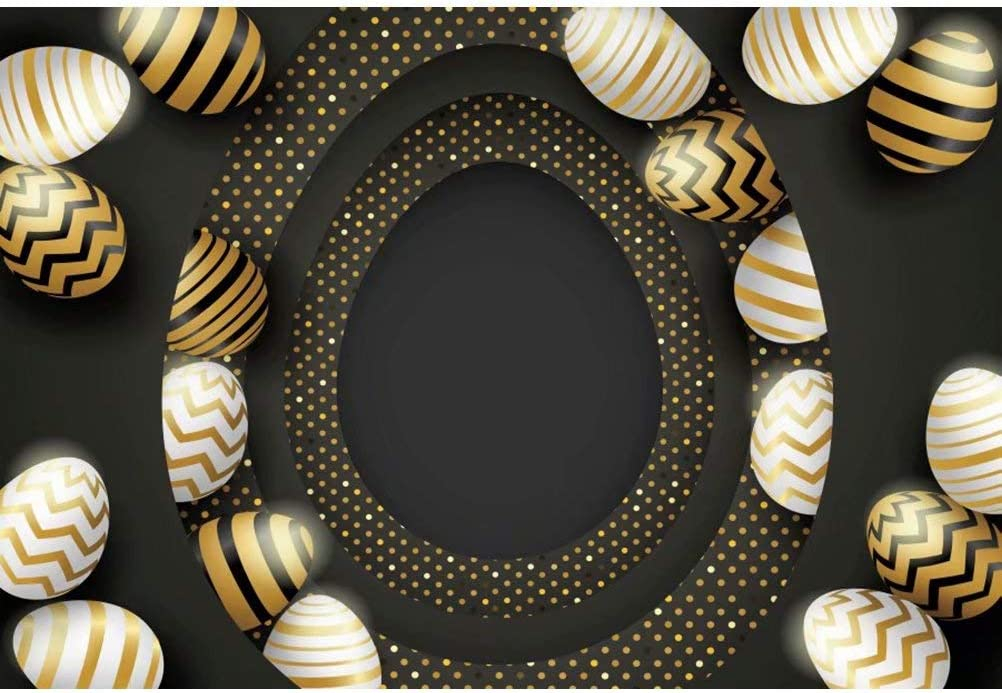 DaShan 14x10ft Happy Easter Backdrop for Photography Black Golden Easter Eggs Background for Baby Newborn Children Easter Party Decorations Kids Adults Portrait YouTube Photo Studio Props