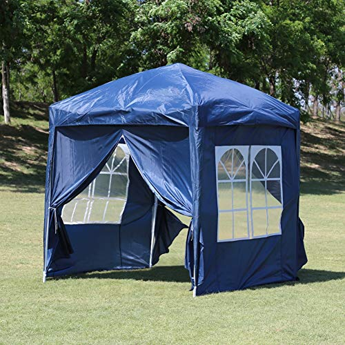 TUKAILAI Portable 3x3m Heavy Duty Blue Pop Up Gazebo Garden Gazebo Awning Canopy Shelter with 4 Side Panels & Carry Bag Steel Frame Waterproof for Outdoor Wedding Party Event Four Seasons