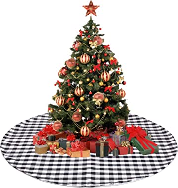 CHICHIC 48 Inch Christmas Tree Skirt Plaid Tree Skirt Buffalo Check Christmas Tree Skirt Double Layers Black and White Xmas Tree Skirt for Christmas Party Decorations Holiday Ornaments