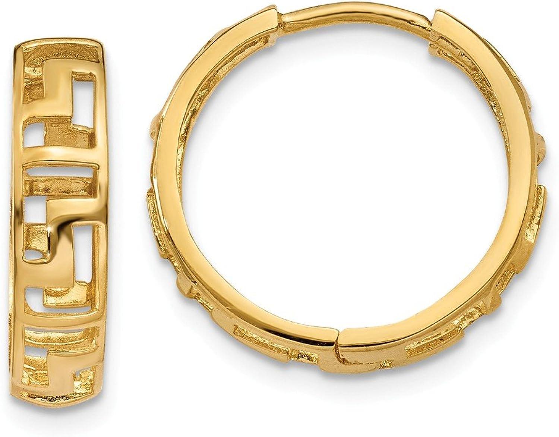 Beautiful Yellow gold 14K Yellowgold 14k Greek Key Hinged Hoop Earrings