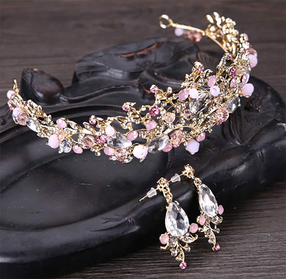 Deniferymakeup Crown Crystal Rhinestone Women's Tiara Prom Party Jewelry Set (Pink)