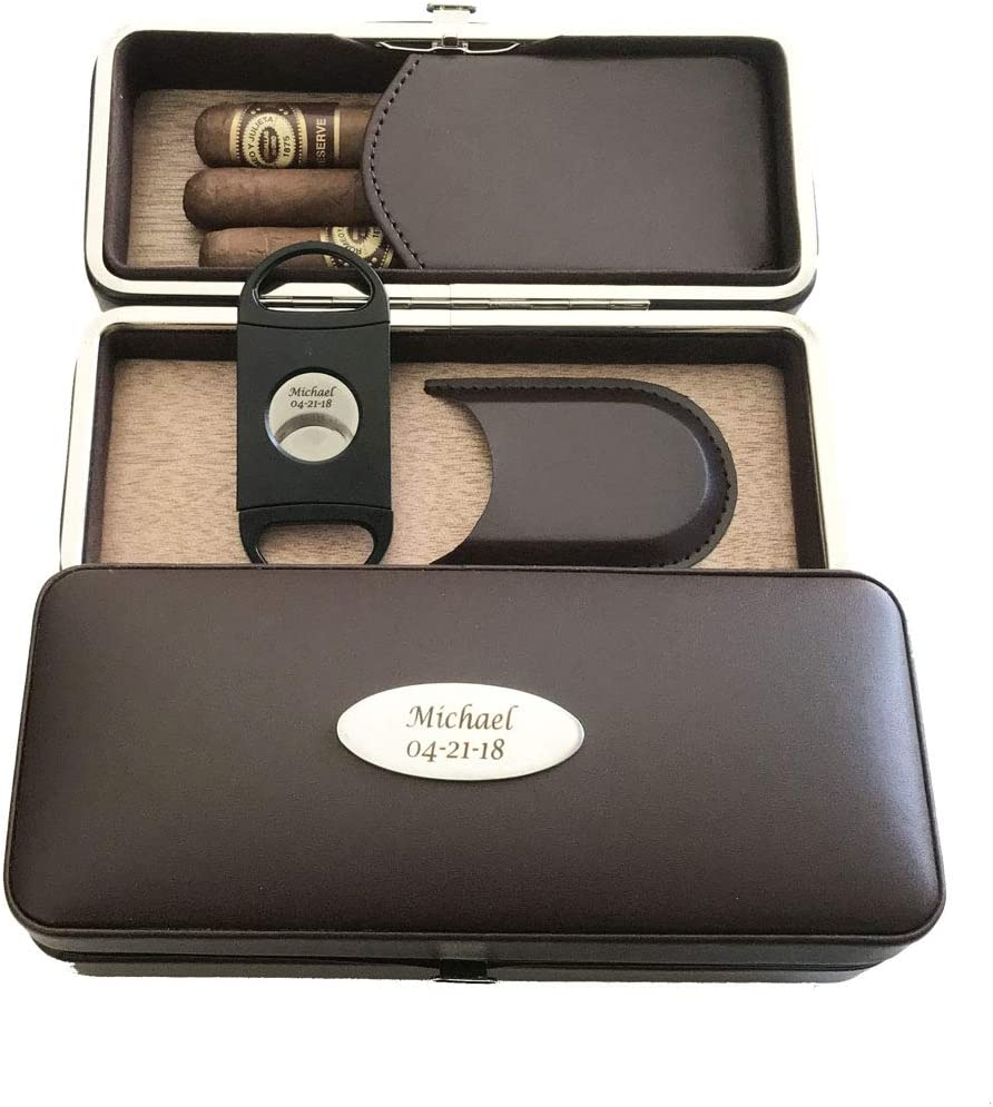 Personalized Folding Cigar Case Indefinitely Dark Now free shipping Cutter Brown Leath