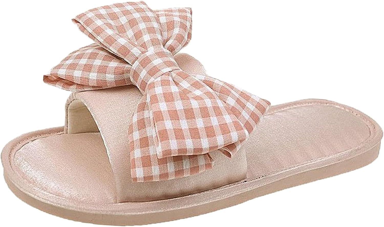 PLENTOP Slide Sandals for Women Inventory cleanup selling sale Daily bargain sale Canvas Bowknot Open Toe Knot Esp